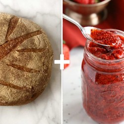 Brown Sourdough Bread and Glass Jar with Natural Strawberry Jam - Thumbnail