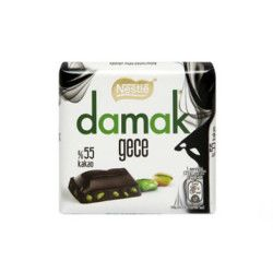 Damak Dark Pistachio Bitter Square Chocolate , 6 pieces - Thumbnail