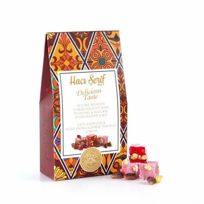 Double Roasted Turkish Delight With Pistachio and Pomegranate , 4oz - 125g