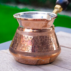 Engraved Gold Copper Coffee Pot - Thumbnail