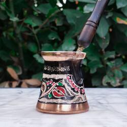 Erzincan Colorful Copper Coffee Pot - Thumbnail