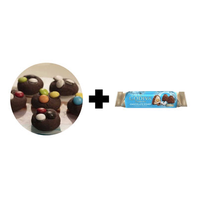 Godiva Chocolate Domes Coconut Crunch - Black Cookies with Bonibon