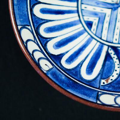 Handmade Blue Patterned Tile Bowl , 16.6 x 1.9 inch