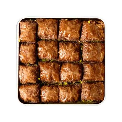 Handmade Chocolate Pistachio Baklava , 16 pieces - 1.1lb - 500g