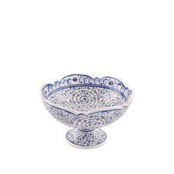 Handmade Tile Centerpiece Footed Bowl , 6inch 16cm - Thumbnail