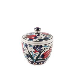 gifturca - Handmade Floral Tile Sugar Bowl With Lid , 3inch 8cm