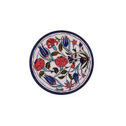 gifturca - Handmade Lalezar Tile Trivet With Blue Rim , 6inch 15cm