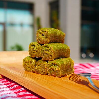 Handmade Pistachio Rolled Baklava , 40 pieces - 2.2lb - 1kg
