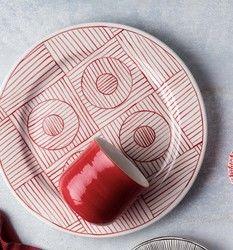 Saleenart - Handmade Red Water Patterned Dinner Plate , 25cm