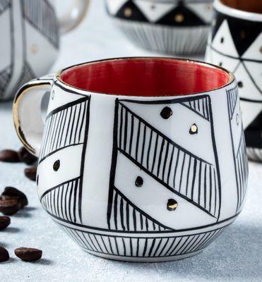 Handmade Red Water Patterned Mug , 8cm*8cm