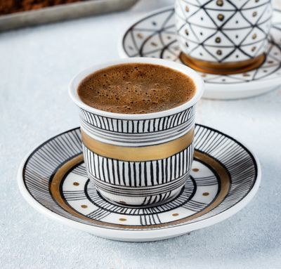 Handmade Water Patterned Coffee Cup With Saucer