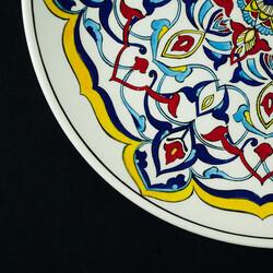 Handmade White Gourmeturca Tile Dinner Plate , 10.6 x 1.1 inch - Thumbnail