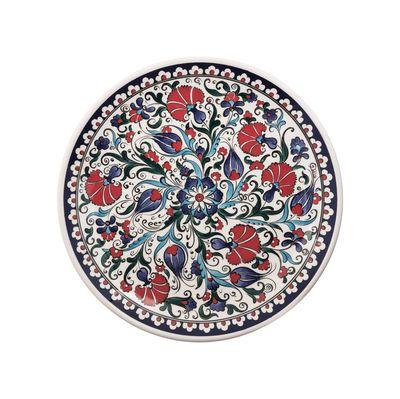 Handmade Herbal Patterned Tile Dinner Plate , 11inch 28cm