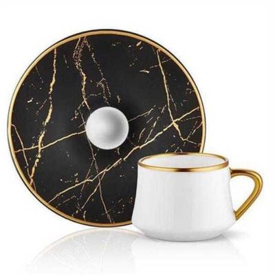 Matte Black Marble Gold Turkish Coffee Set, 6 pieces