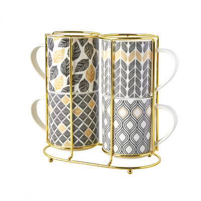 Nero Porcelain Mug Set with Stand , 5 pieces