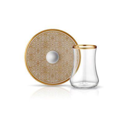 Ottoman Gold Dervish Tea Cups Set , 6 pieces