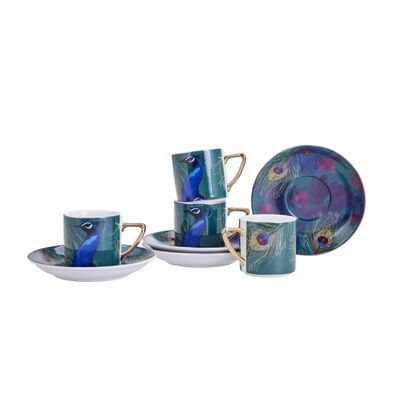 Peacock Coffee Cup Set, 8 pieces