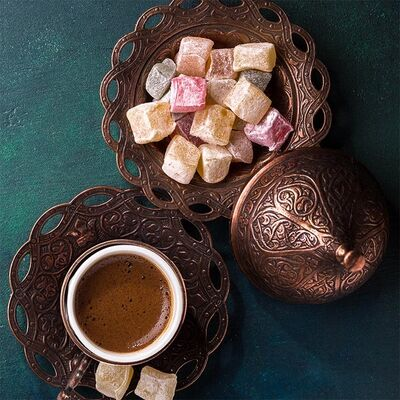 Pomegranate Flavored Turkish Delight and Turkish Coffee