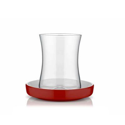 Red Turkish Tea Cup Set, 6 pieces