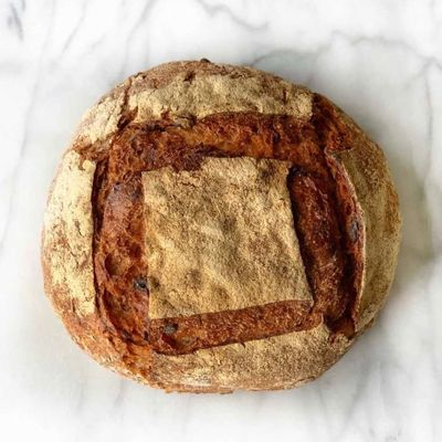 Sourdough Bread With Tomato and Rosemary and Black Olives