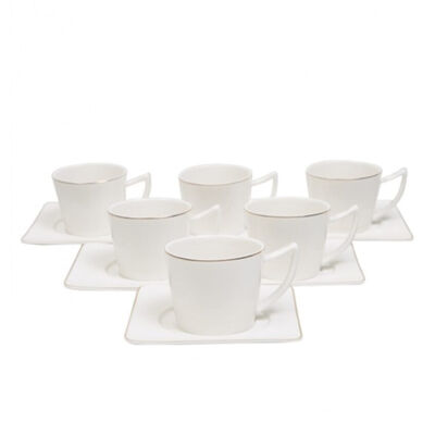 Square Plate Coffee Cup Set , Service for 6