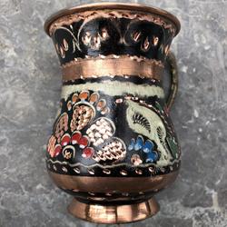 Traditional Colorful Copper Ayran Mug - Thumbnail