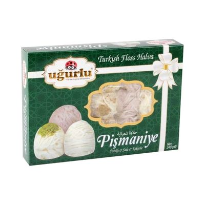 Turkish Floss Halva With Pistachio, Plain and Cocoa , 8oz - 240g