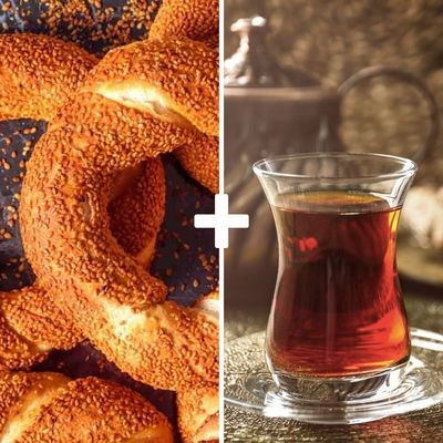 Turkish Simit and Turkish Tea
