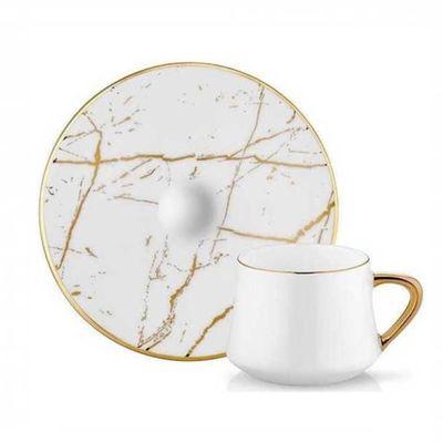 White Marble Gold Turkish Coffee Set, 6 pieces