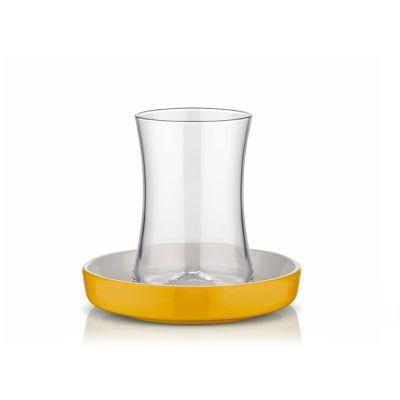 Yellow Turkish Tea Cup Set, 6 pieces